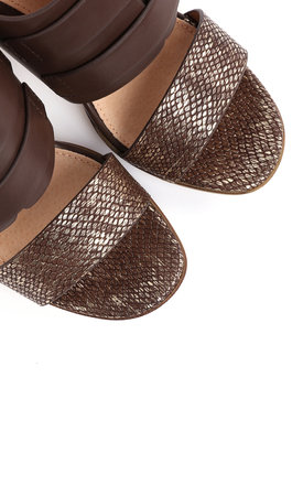 Block Heel Coffee Sandals by Jezzelle