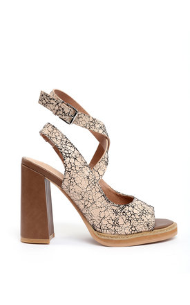 Cracked Leather Effect Block Heel Sandals by Jezzelle