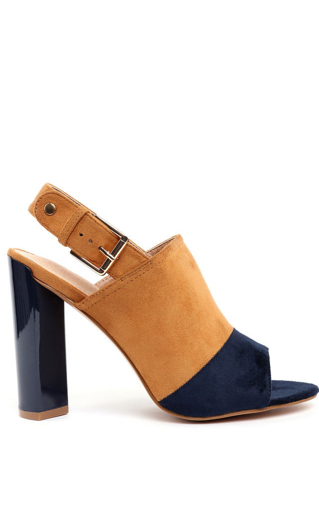 Yellow & Navy Suede Peep-toe Booties by Jezzelle