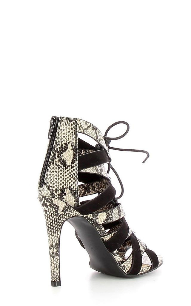Snake Print Lace Up Sandals by Jezzelle