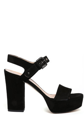 Block Heel Platform Black Suede Sandals by Jezzelle