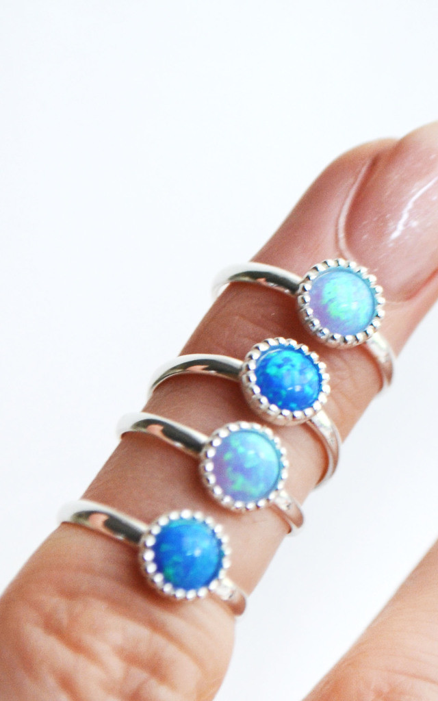 Mermaze 925 Sterling Silver Opal Ring by Wanderdusk