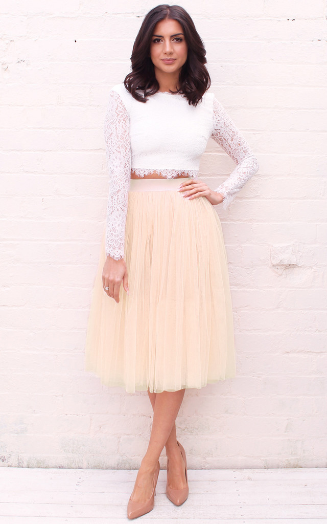 High Waisted Tulle Midi Skirt In Cream Beige - SilkFred