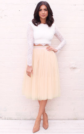 High Waisted Tulle Midi Skirt in Cream Beige by One Nation Clothing