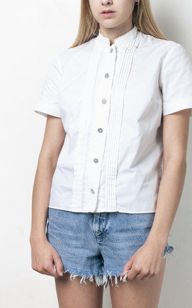 70s vintage white folk shirt by Pop Sick Vintage