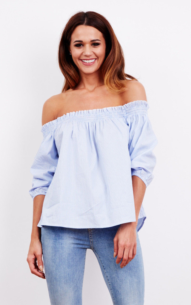 BLUE STRIPE OFF SHOULDER TOP by Glamorous