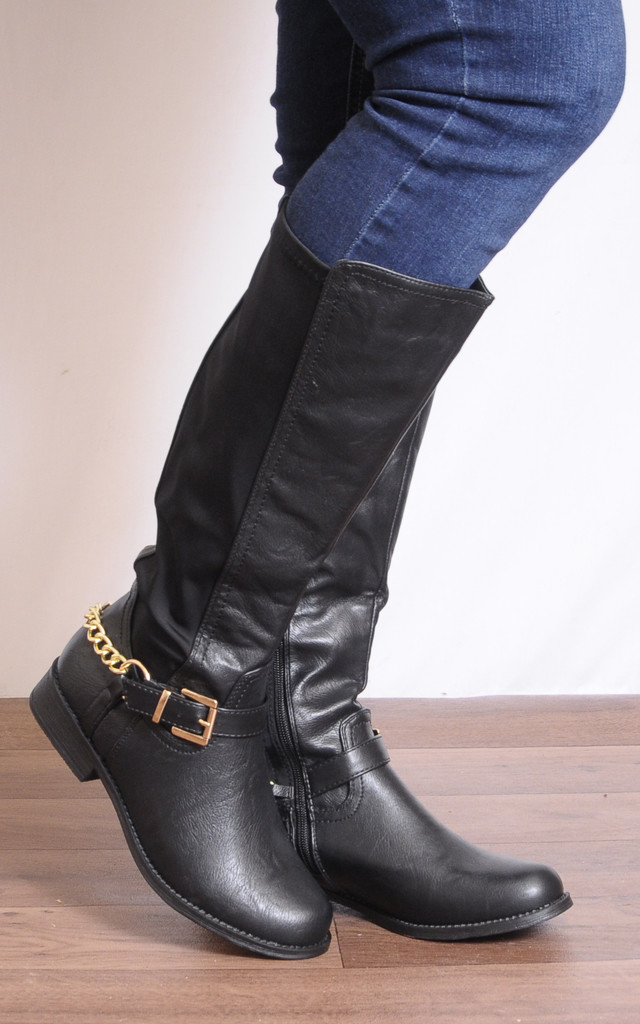 Black Faux Leather Fashion Gold Chain Knee High Flat Boots by Shoe Closet