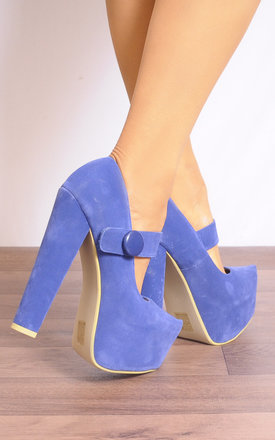 Mary Jane Platform Heels in Blue by Shoe Closet