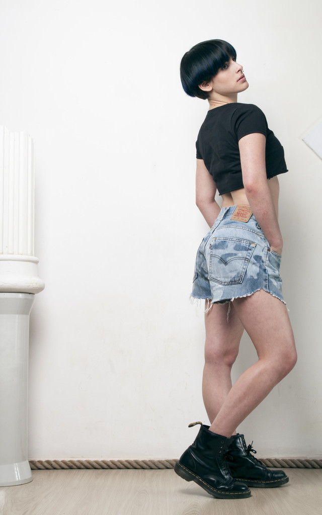 90s reworked blecahed Levi's denim shorts by Pop Sick Vintage