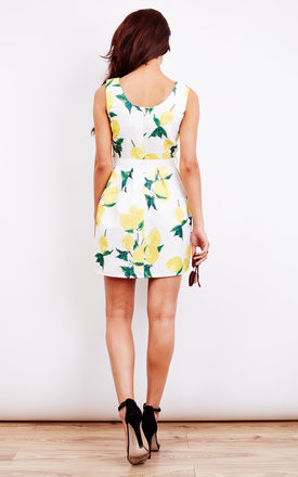 LEMON BLOSSOM PRINT PROM DRESS WITH WHITE TIE by Lilah Rose
