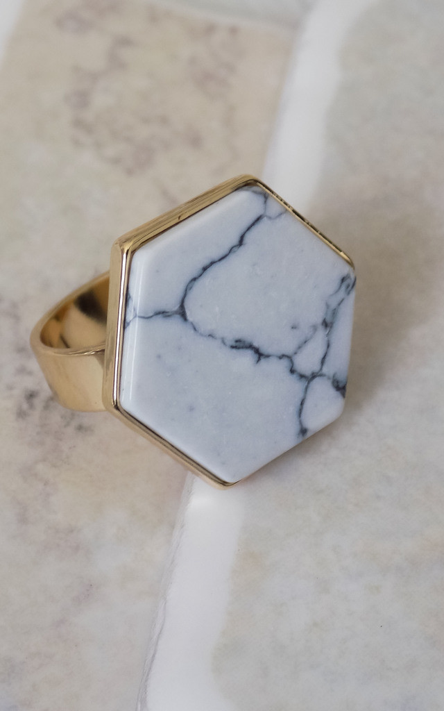 Hexagon Marble Ring by Arcus Accessories