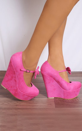 Pink Faux Suede Bows Wedged Platforms Wedges Court Shoes by Shoe Closet