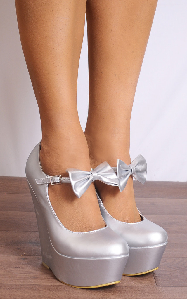 Silver Metallic Suede Bows Wedged Platforms Wedges Court Shoes by Shoe Closet
