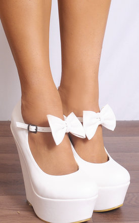 Faux Leather Platform Wedges with Bow in White by Shoe Closet