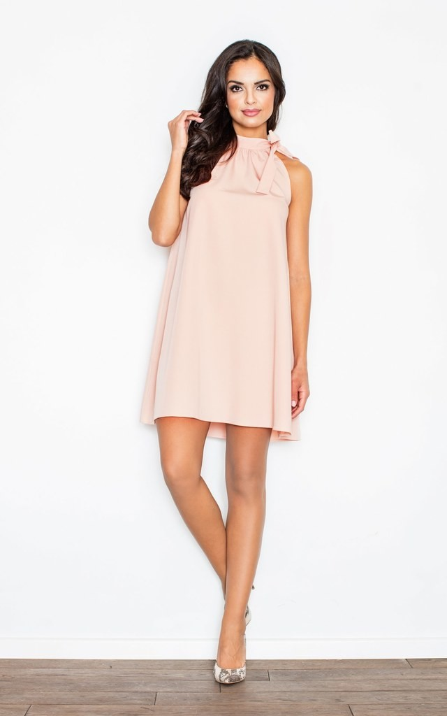Pink A-line dress with collar by FIGL