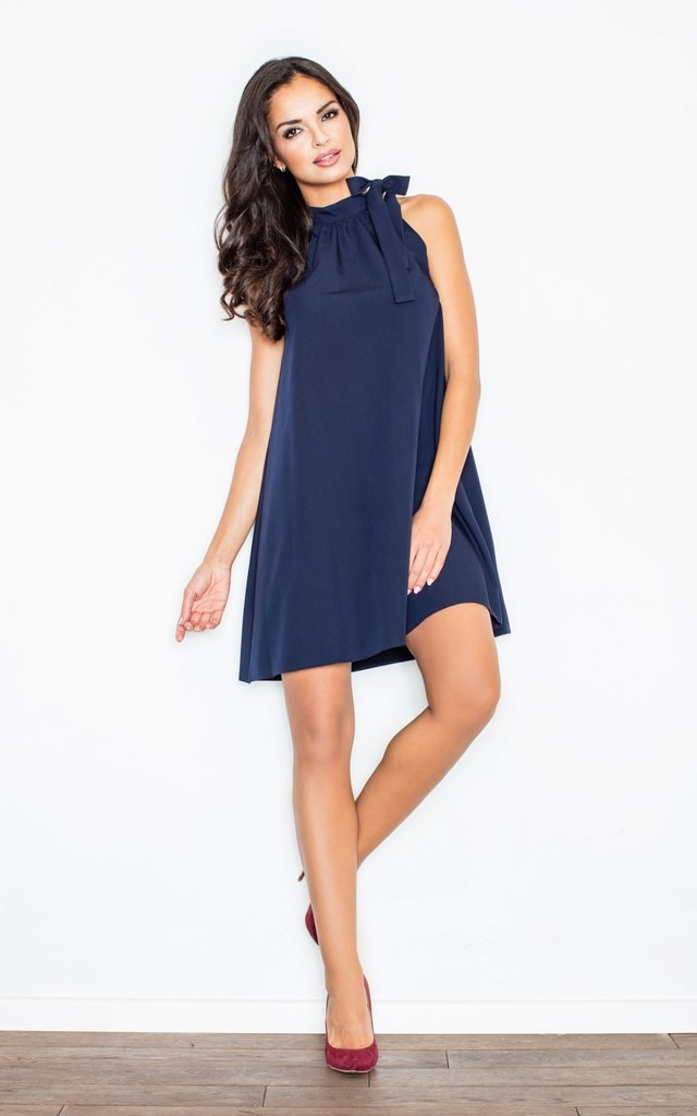 Navy blue A-line dress with collar by FIGL