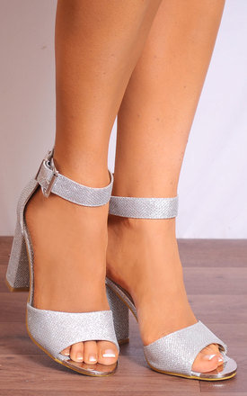 Silver Glitter Barely There Ankle Strap Strappy Sandals High Heels by Shoe Closet