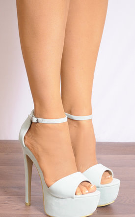 Mint Green Faux Suede Barely There Stilettos Strappy Sandals by Shoe Closet