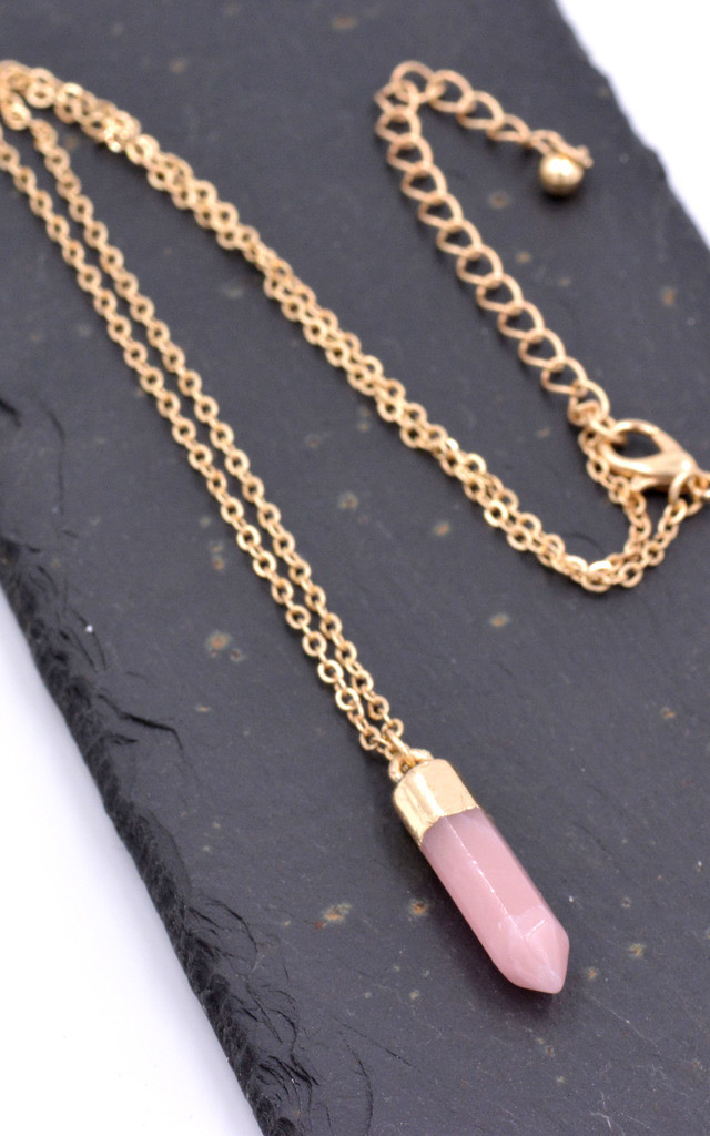 18 Inch Gold Dipped Pink Quartz Crystal Necklace by Silver Rain