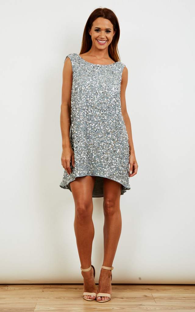 Silver Brooke encrusted cowl back dress by Rain