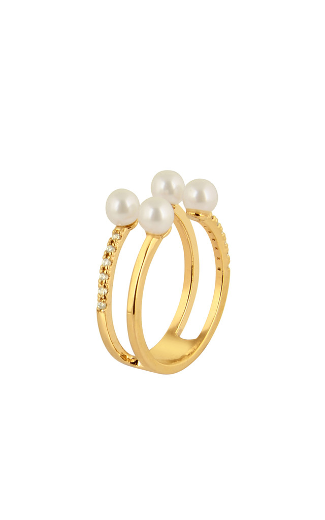 Pearl With Cubic Ring In Gold by DOSE of ROSE