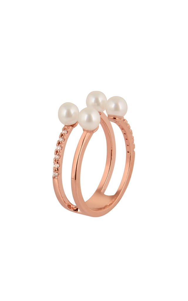 Pearl With Cubic Ring In Rose Gold by DOSE of ROSE