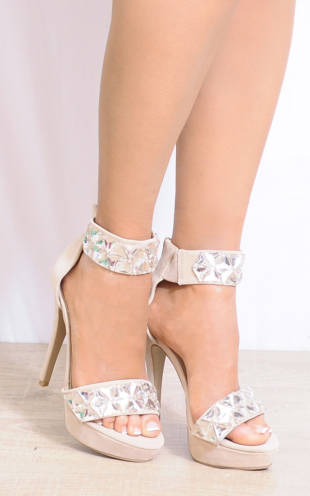 Nude Jewelled Ankle Strap Barely There Stilettos Strappy Sandals by Shoe Closet