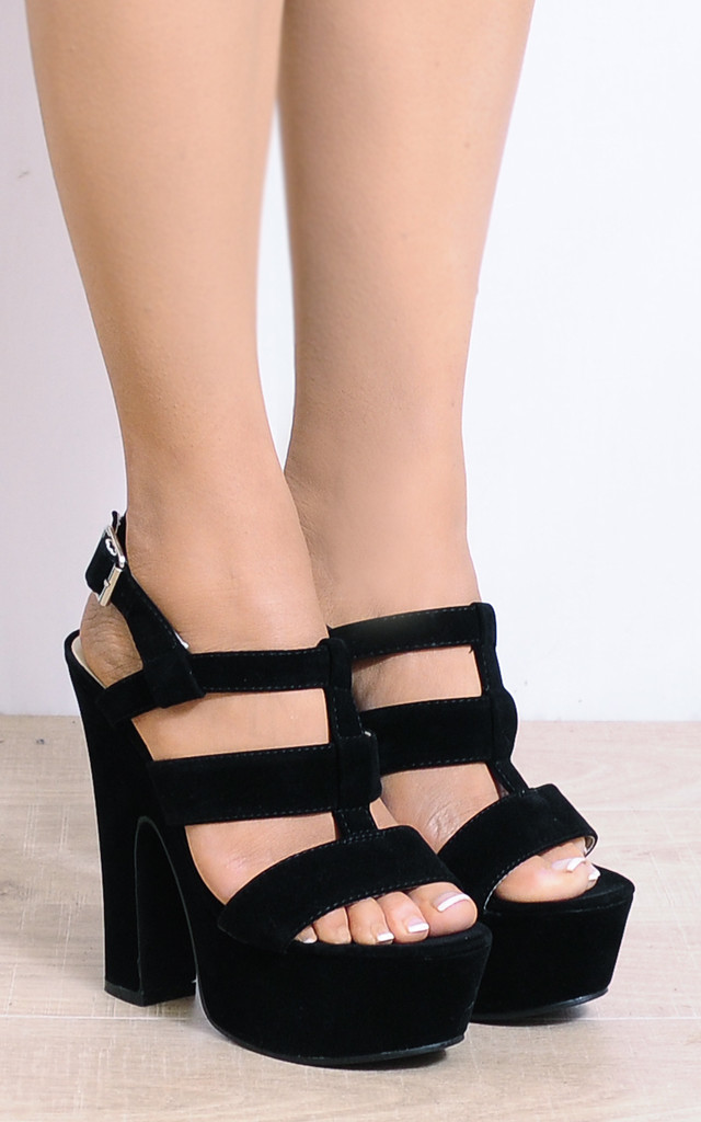 Black Faux Suede Wedged Platforms Block High Heels by Shoe Closet