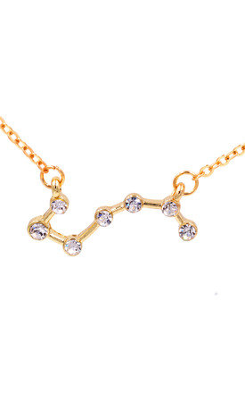 Star Constellation The Plough (Big Dipper) Crystal Pendant Necklace with a Gold Tone Chain 18 inch by Silver Rain