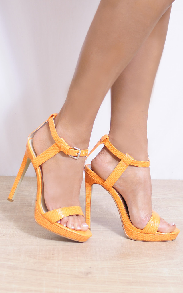 Strappy High Heel Sandals in Orange Lizard Print by Shoe Closet