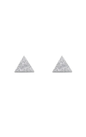 Triangle Studs - Silver Glitter by Wolf & Moon