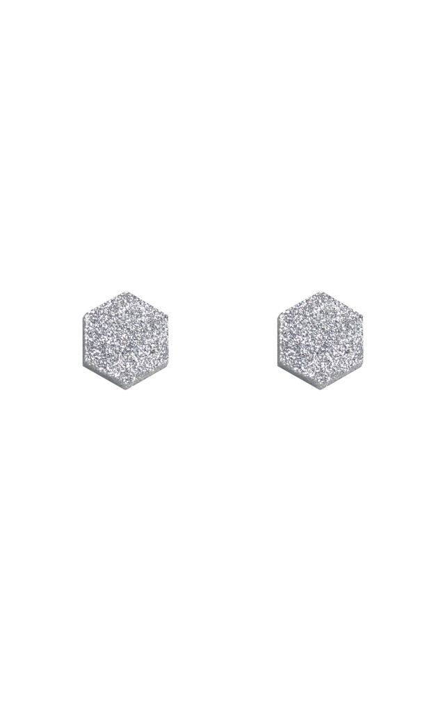 Hexagon Studs - Silver Glitter by Wolf & Moon