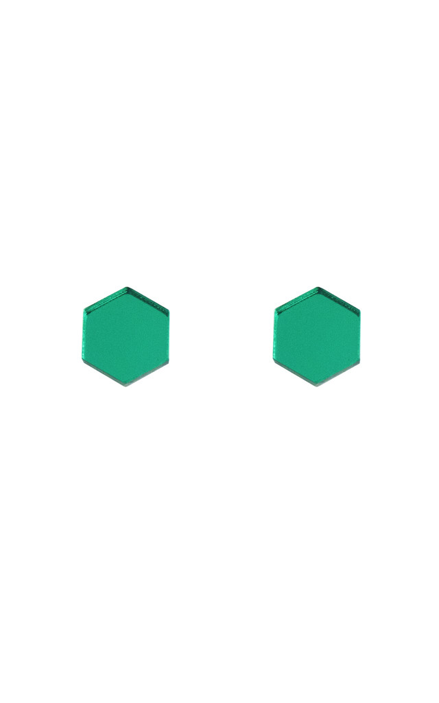 Hexagon Studs - Green by Wolf & Moon