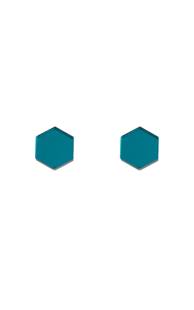 Hexagon Studs - Teal by Wolf & Moon