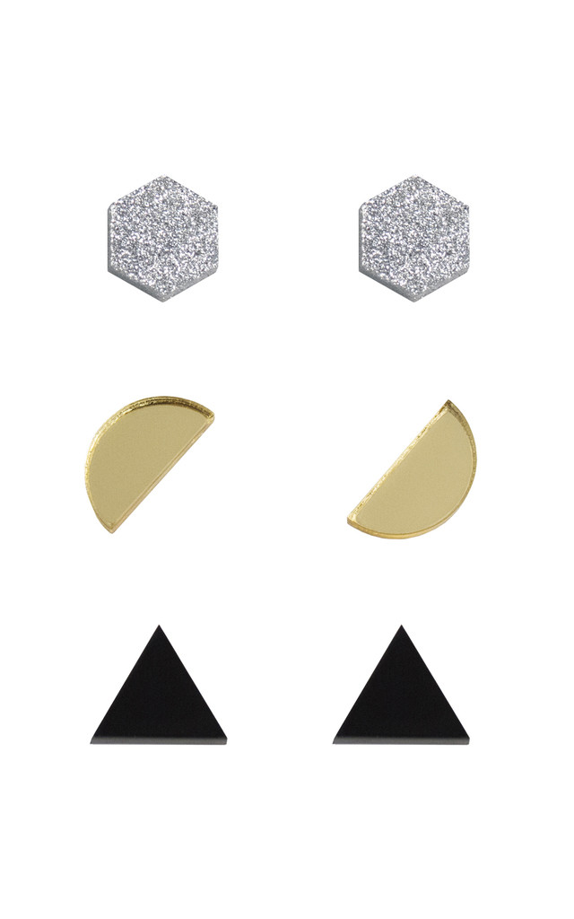 Shape Studs - Silver Glitter / Gold / Black by Wolf & Moon