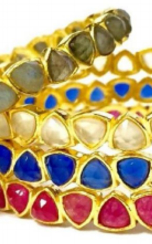 Tirina Gold Bracelet with Multicolour Gemstones by Taara Jewelry