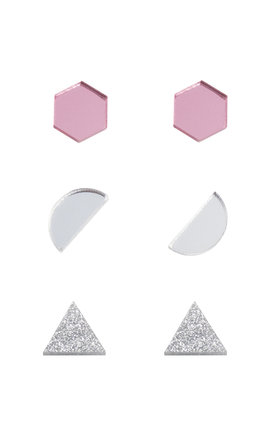 Shape Studs - Pink / Silver / Silver Glitter by Wolf & Moon