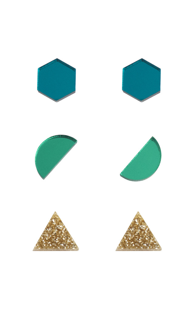 Shapes Studs - Teal / Green / Gold Glitter by Wolf & Moon