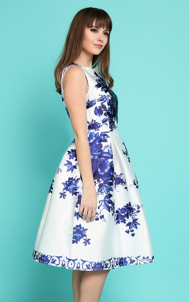 Blue and White Print Prom Dress by Jezzelle