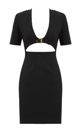 Open Front Buckle Detail Bodycon Dress by Jezzelle