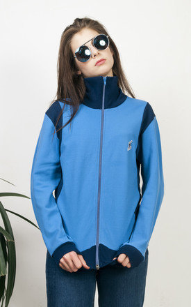 Blue sport jumper 80s two toned zipped retro jumper by Pop Sick Vintage