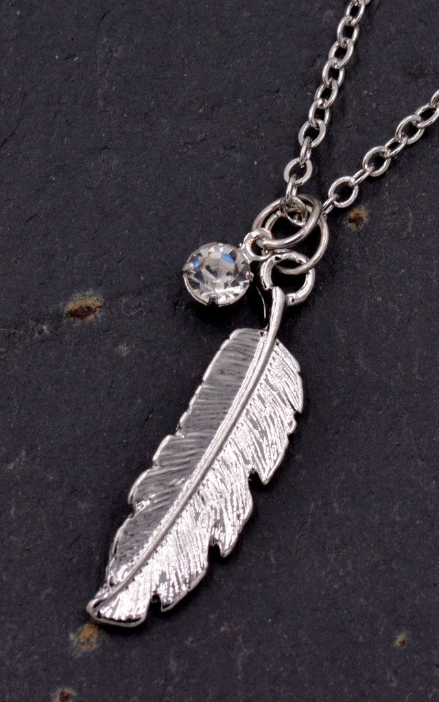 Dainty Feather Necklace - Silver Tone by Silver Rain