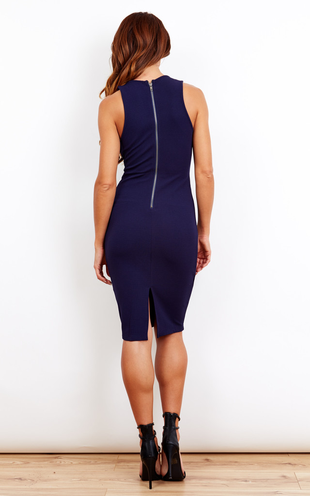 Navy Blue Plunge Dress by Ginger Fizz