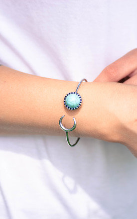 Blue Moon and Crescent Bracelet Cuff with Blue Turquoise Stone - Antique Silver Finish by Silver Rain