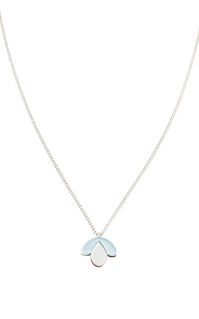 Bloom Bud Necklace - Pastel Blue / Silver by Wolf & Moon