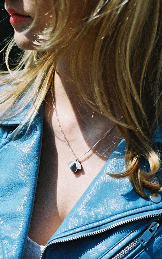 Bloom Bud Pendant Necklace in Pastel Blue Acrylic / Silver Mirror by Wolf & Moon