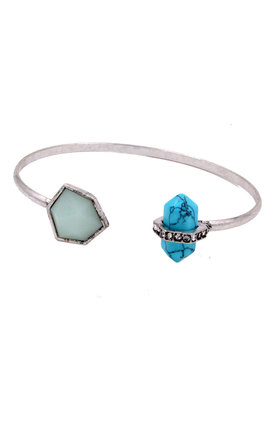 Antique Silver Irregular Hexagon and Prism Point Turquoise Stone Design Open Cuff Bracelet by Silver Rain