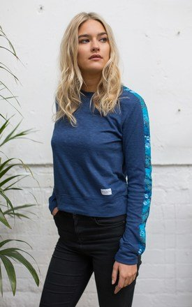 Blue Damai Sweatshirt with Fabric Sleeves by Alma de Ace