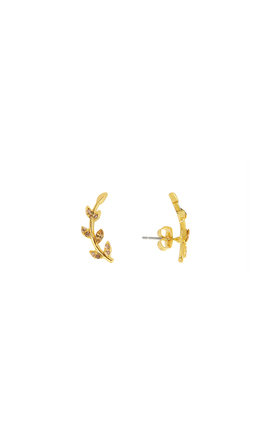 Leaf Stud Earrings In Gold by DOSE of ROSE