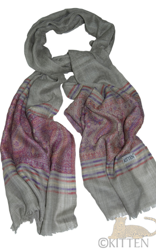Priti Grey Printed Pashmina by Kitten Beachwear